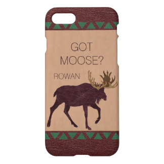 Z Rustic Moose Faux Leather iphone7 Fun Got Moose iPhone 8/7 Case