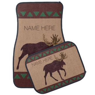 Z Rustic Moose Faux Leather-Look Cabin Theme Car Mat