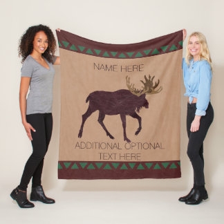 Z Rustic Moose Faux Leather-Look Cabin Theme Fleece Blanket