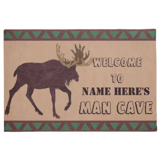 Z Rustic Moose Faux Leather-Look Man Cave Doormat