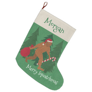 Z Santa Squatch Christmas For Kids Add Your Name Large Christmas Stocking