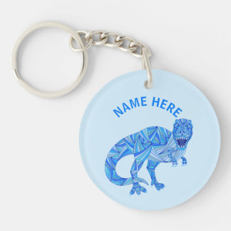 Z T-Rex Dinosaur Colorful Prehistoric Animal Double-Sided Round Acrylic Keychain