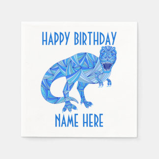 Z T-Rex Dinosaur Colourful Prehistoric Birthday Paper Napkins