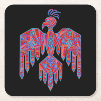 Z Thunderbird Southwest Art Native American Symbol Square Paper Coaster