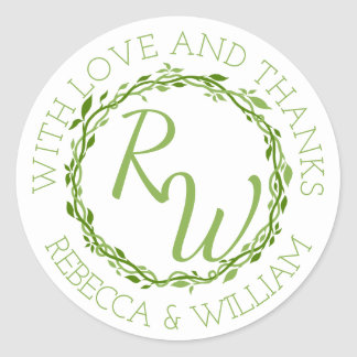 z Woodsy Elegance   Wedding Vine Thank You Favor Classic Round Sticker