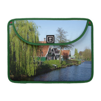 Zaanse Schans Dutch timber houses in green and red Sleeve For MacBook Pro