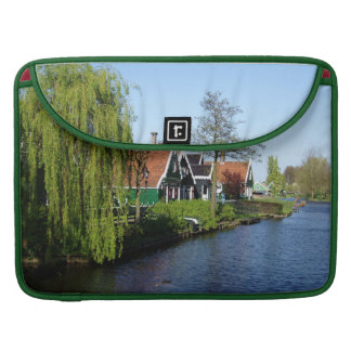 Zaanse Schans Dutch timber houses in green and red Sleeve For MacBooks