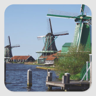 Zaanse Schans Dutch windmills in green and white Square Sticker
