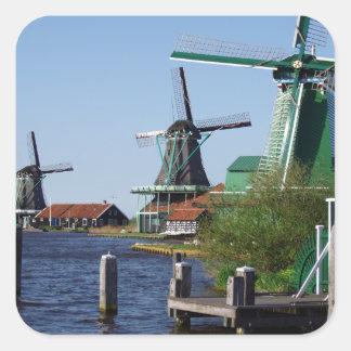Zaanse schans Dutch windmills Square Stickers