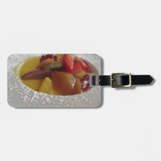 Zabaglione cream with fresh fruit and rolled wafer bag tag