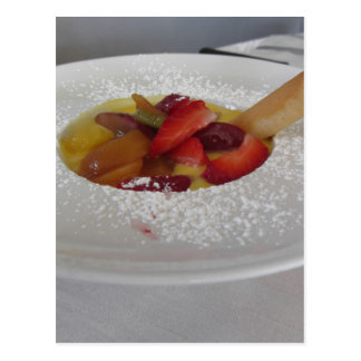 Zabaglione cream with fresh fruit and rolled wafer postcard
