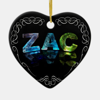 Zac  - The Name Zac in 3D Lights (Photograph) Ceramic Heart Ornament
