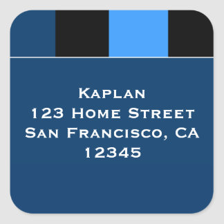 "Zachary Blue Black 1.5"" Envelope Seal Square Sticker"