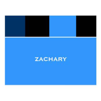 Zachary Blue Black Bar Mitzvah Thank You Postcard