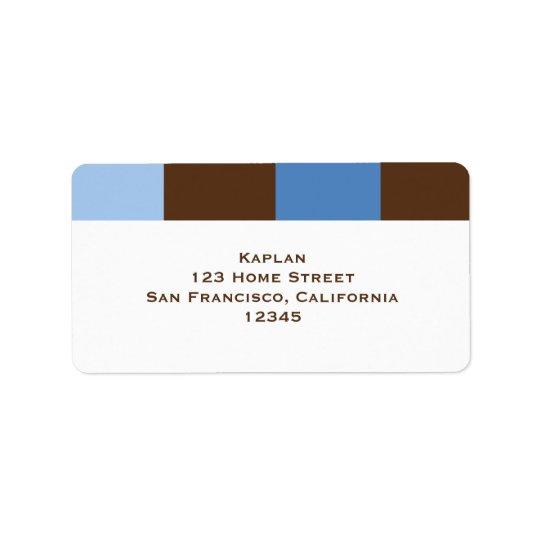 Zachary Blue Brown Address Label