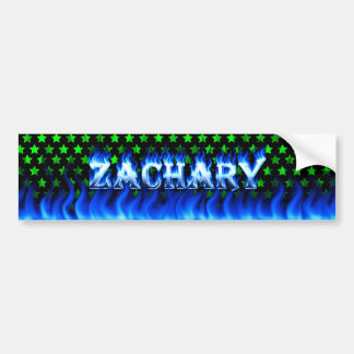 Zachary blue fire and flames bumper sticker design