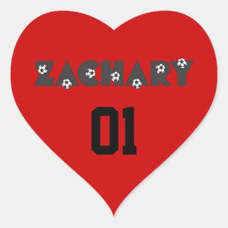 Zachary in Soccer Black Heart Sticker