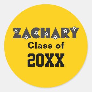 Zachary in Soccer Black Round Sticker