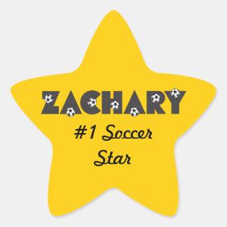 Zachary in Soccer Black Star Sticker