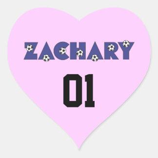 Zachary in Soccer Blue Heart Sticker