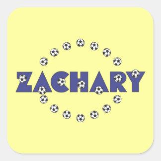 Zachary in Soccer Blue Square Sticker
