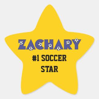 Zachary in Soccer Blue Star Sticker