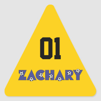 Zachary in Soccer Blue Triangle Sticker