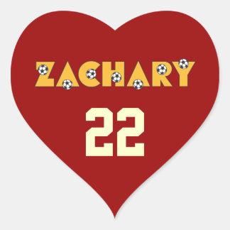 Zachary in Soccer Gold Heart Sticker