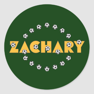 Zachary in Soccer Gold Round Sticker