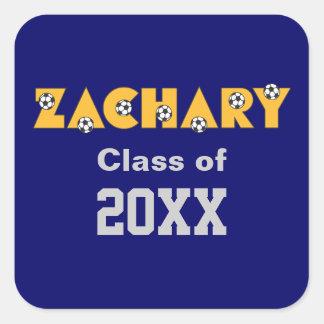Zachary in Soccer Gold Square Sticker