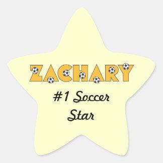 Zachary in Soccer Gold Star Sticker
