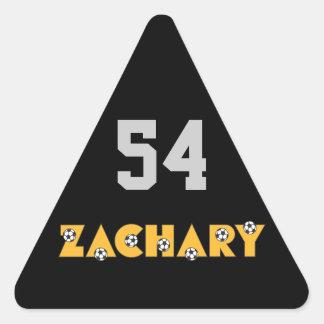 Zachary in Soccer Gold Triangle Sticker