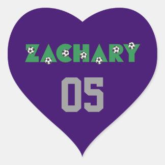 Zachary in Soccer Green Heart Sticker