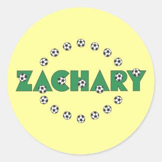 Zachary in Soccer Green Round Sticker