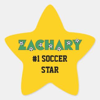 Zachary in Soccer Green Star Sticker