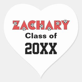 Zachary in Soccer Red Heart Sticker