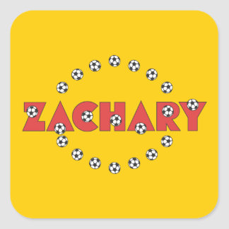 Zachary in Soccer Red Square Sticker