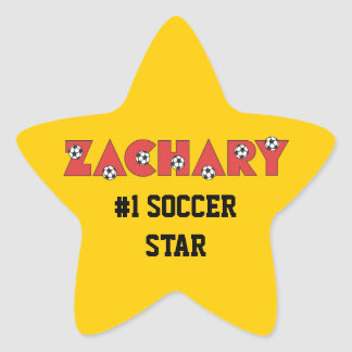 Zachary in Soccer Red Star Sticker