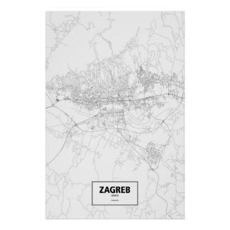 Zagreb, Croatia (black on white) Poster