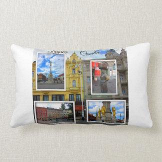 Zagreb Old Town Photo Collage Lumbar Pillow
