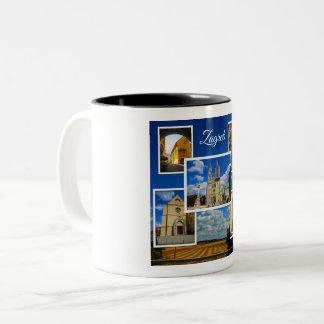 Zagreb Old Town Photo Collage Two-Tone Coffee Mug