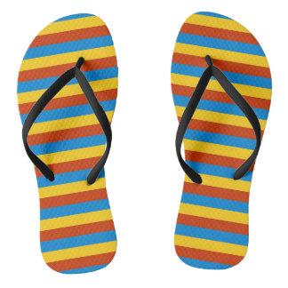 Zaire flag stripes lines flip flops