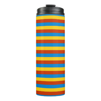 Zaire flag stripes lines pattern thermal tumbler