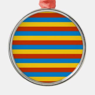 Zaire flag stripes metal ornament