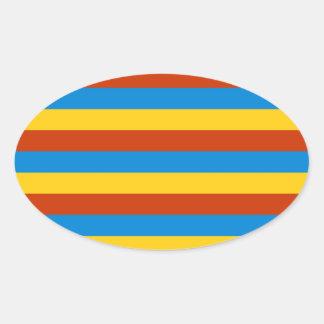 Zaire flag stripes oval sticker