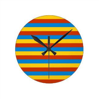 Zaire flag stripes round clock