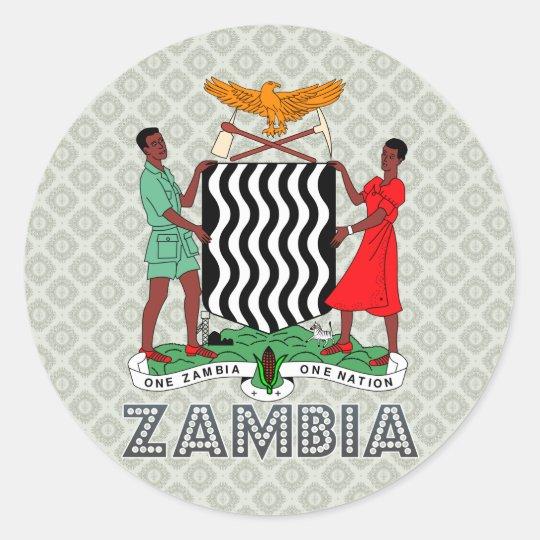 Zambia Coat of Arms Classic Round Sticker