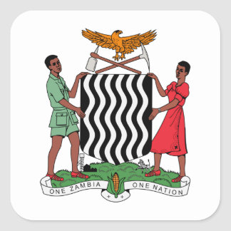 Zambia Coat of Arms Square Sticker