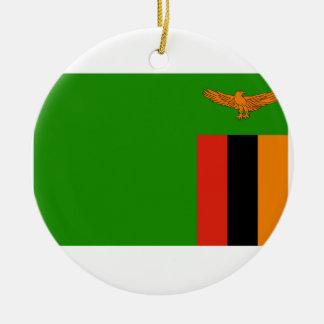 Zambia Flag Ceramic Ornament