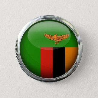 Zambia Flag Glass Ball 2 Inch Round Button